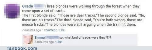 they were unicorn tracks Emma. thumbs up if you like. failbook Train tracks Blondes the game