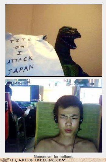 Threatening Japan. . Japan godzilla funny computer tits Boobs attack threat threatening