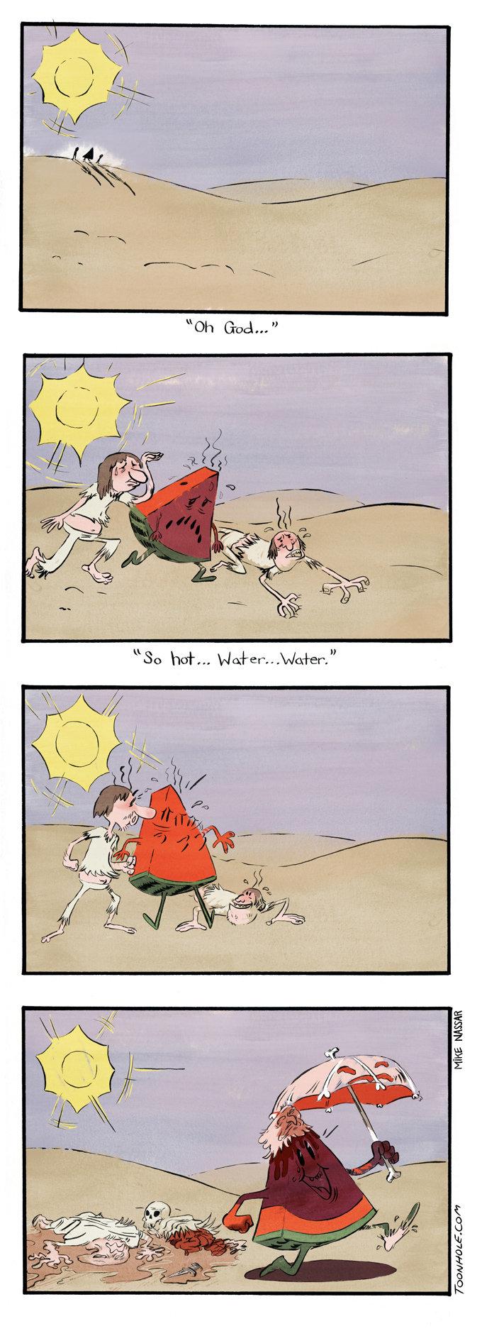 Too Hot. Another watermelon stereotype. More comics at ToonHole.com. toonhole toon cartoon comic webcomic gag watermelon TOO HOT Desert skin Umbrella