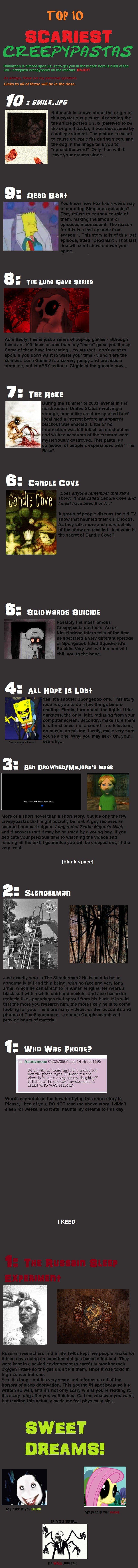 Top 10 Scariest Creepypastas. Smile.jpg: knowyourmeme.com/memes/smilejpg#.Tqua... Dead Bart: creepypasta.wikia.com/wiki/Dead_Bart The Luna Game Series: knowyour Scary shit