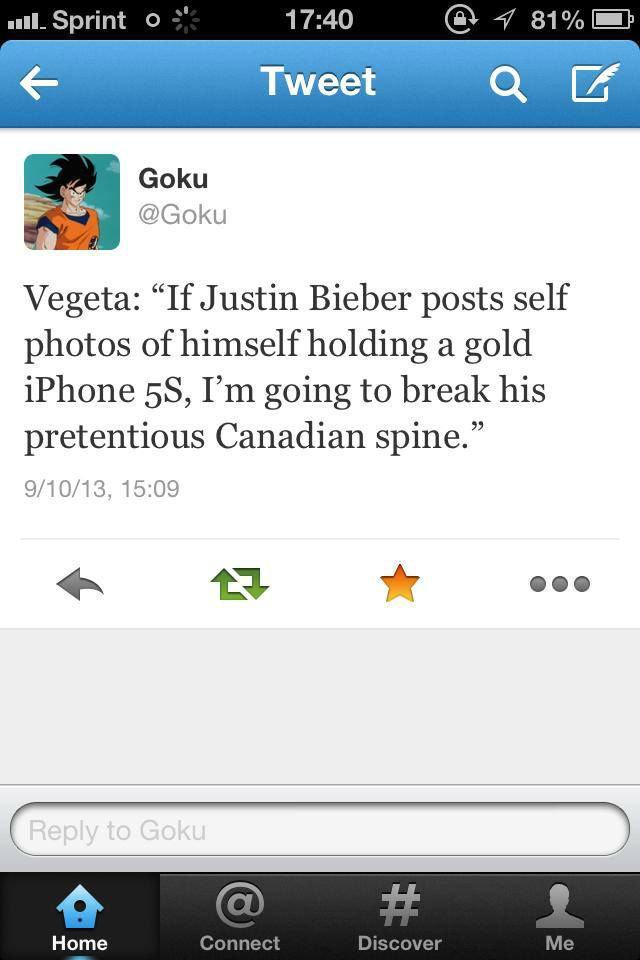 "U Jelly, Vegeta?. . Goku Vegeta: ""If Justin Bieber posts self photos of himself holding a gold iphone , I' m going to break his pretentious Canadian spine"" enem dbz"