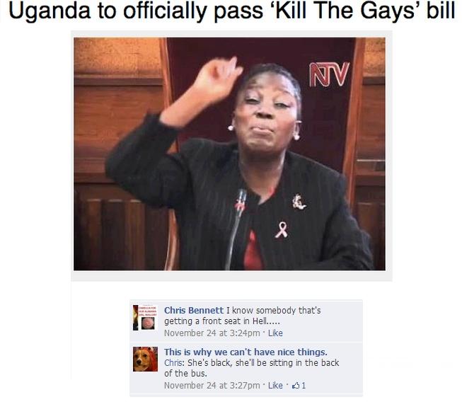 Uganda Will Kill the Gays. Article source: www.gaystarnews.com/article/uganda-of... Page of origin: www.facebook.com/whywecanthavenicethings. Uganda to official Uganda