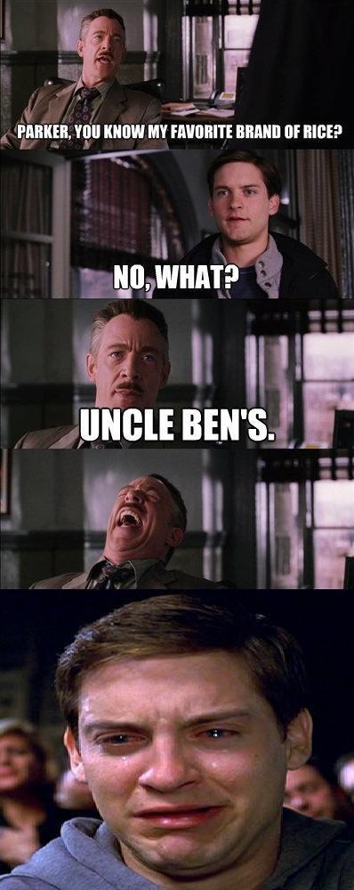 uncle ben's. not OC, hope you enjoy . Spiderman Uncle Ben Rice