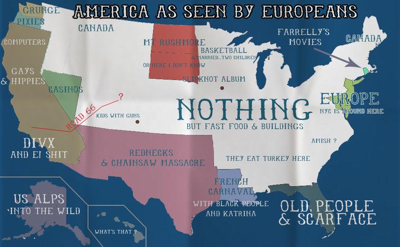 "USA as seen by Europeans. USA as seen by Europeans. jill AMERICA Ni SEEN BY EUROPEANS GAYS . as HIPPIES H HUT ELM-' I' 1 f ti u sttgl WITH it 1'' BUT ""tali% FEE usa europe Map Cliche humor fun"