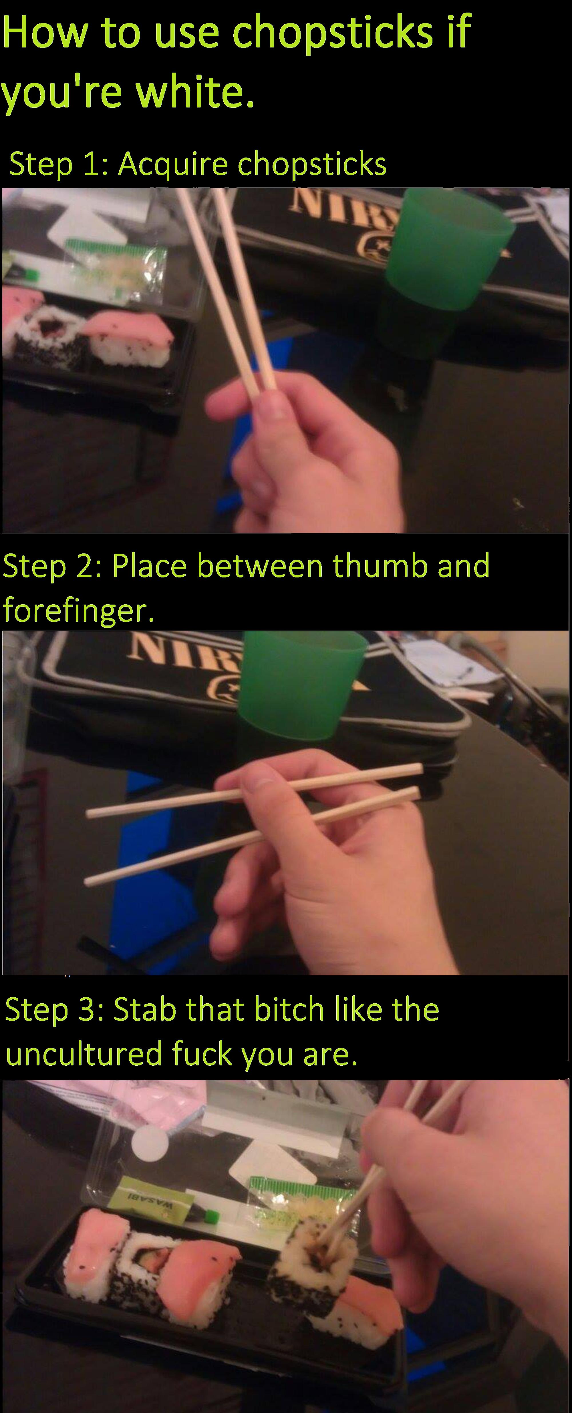 using chopsticks. .. Im cringing cause those small dots look like ants white chopsticks Sushi