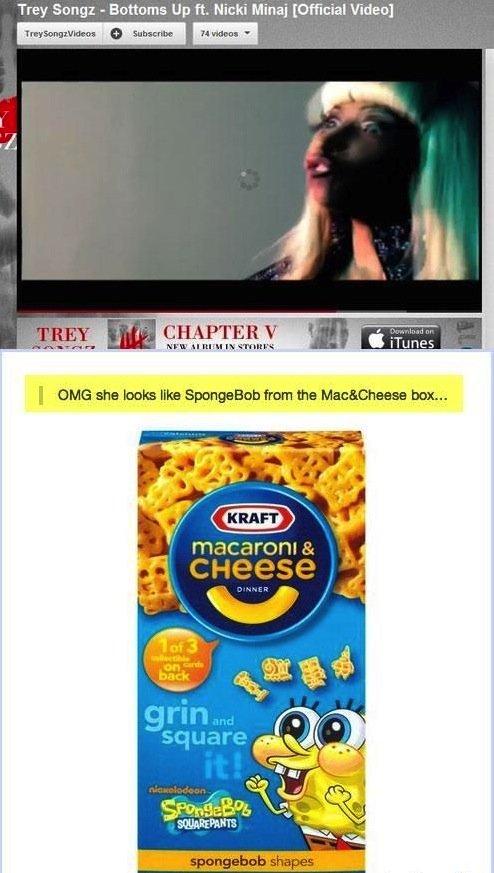 "You Are Now Scarred. . Trey Bung: - Bottoms Up ft, Nicki Mina] Video) i' c"" L' birl IE khan Scary nicki minaj scarred funny jokes spongebob"